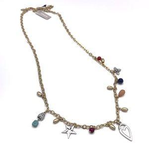 "Chico's Long Charm Necklace 40"" Heart Ladybug NWT"
